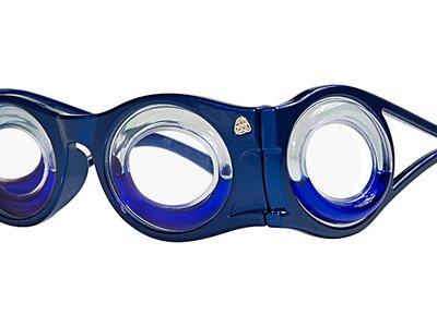 The Boarding Glasses have two round lenses in front and two on the side, the hollow rims each half filled with blue liquid.