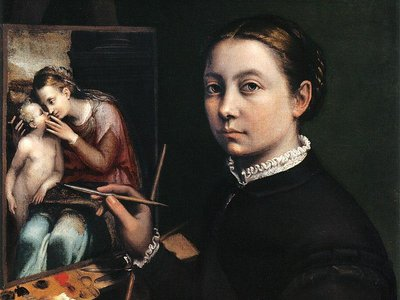 """Sofonisba Anguissola, """"Self-Portrait at the Easel Painting a Devotional Panel,"""" 1556"""
