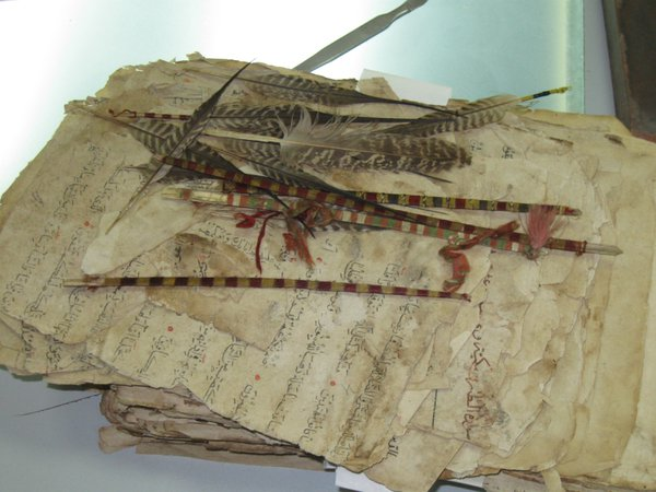 Old manuscript and feather bookmarks thumbnail
