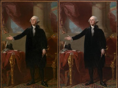 The 18-month restoration of Gilbert Stuart's portrait of George Washington, the Lansdowne (above: the portrait before conservation treatment is on the left) is completed.