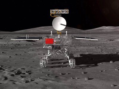 An artist's rendering of the small rover that will be deployed on the far side of the Moon as part of the Chang'e-4 mission.