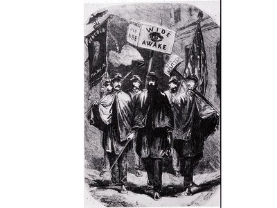 Wide Awake Republican political club from 1860, comprised of young men who dressed in uniforms and marched at night by torchlight for Lincoln.