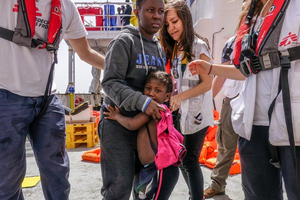 Rescued mother and daughter from Mediterranean Sea thumbnail