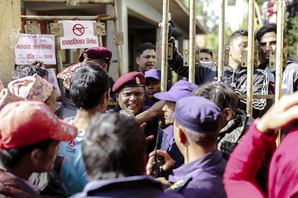 Tension outside a voting poll in Nepal thumbnail
