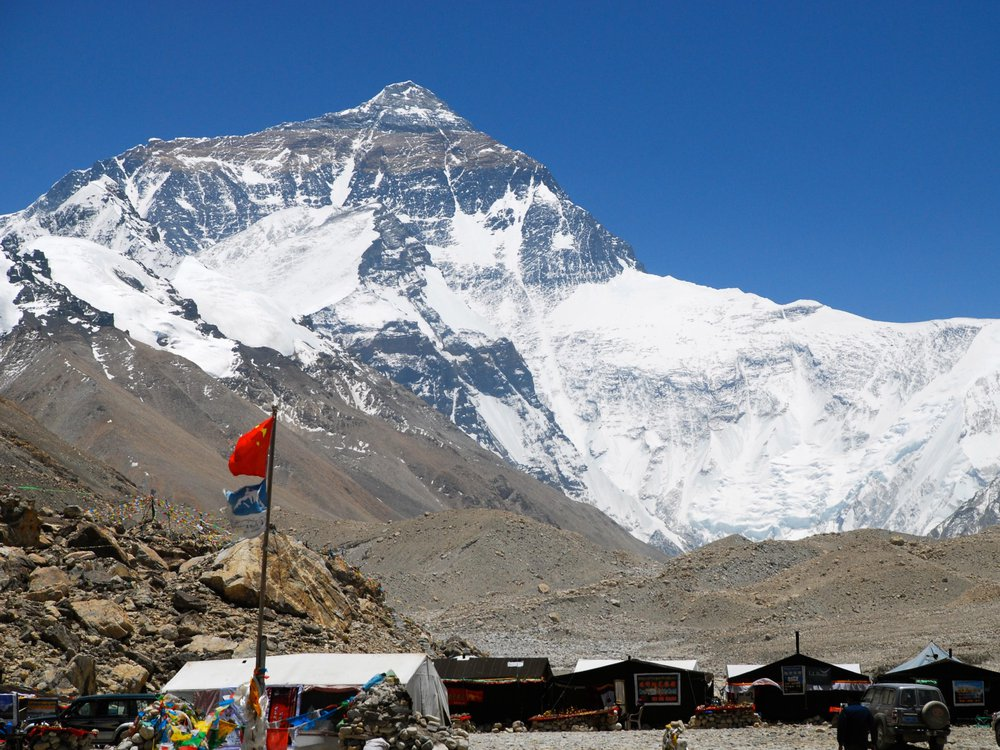 A photo of the Mount Everest base camp with Mount Everest in the background