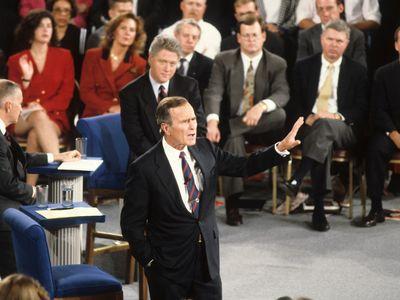 Richmond, Virginia, USA, 15th October, 1992, President George H.W. Bush at the Town Hall debates