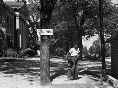 Drinking fountain on the Halifax County Courthouse (North Carolina) in April 1938.