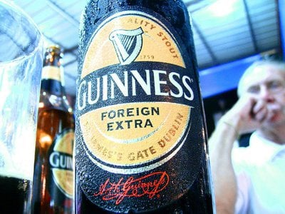 A bottle of Guinness's Foreign Extra Stout.