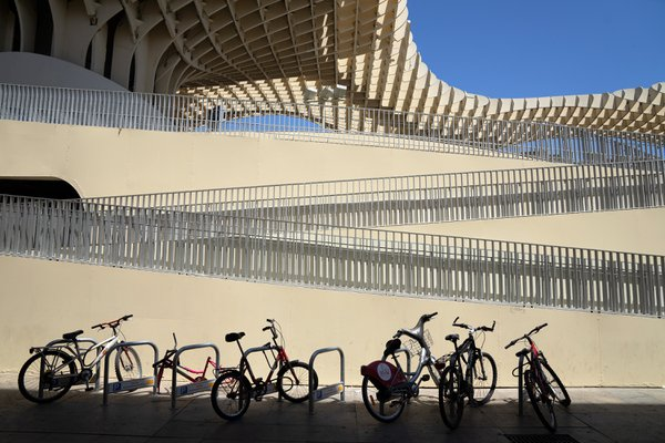 Bicycles on a square in Seville thumbnail
