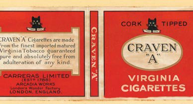 The eye-catching cigarette packages in Johnson's collection served as advertisements as well as containers, testaments to legions of company artists. English Craven A's, American One-Elevens and Scottish Cuba Blends are from the first half of the 20th century.