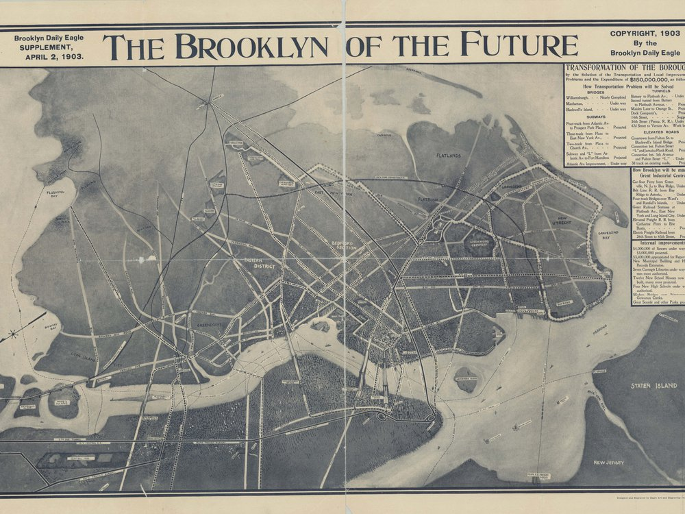 """""""The Brooklyn of the Future"""" spread in a Brooklyn Daily Eagle supplement, April 2, 1903"""