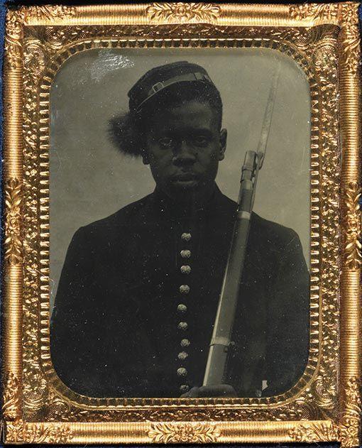 Daguerreotype of unknown black Civil War soldier
