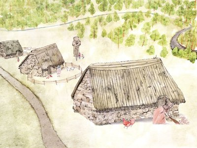 Artist's reconstruction of historic structures at the site of Netherton Cross, a 10th- or 11th-century religious sculpture that has since been relocated