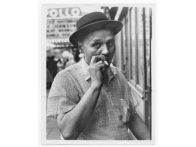 Romare Bearden in Harlem, circa 1950 / unidentified photographer. Romare Bearden papers, 1937-1982. Archives of American Art, Smithsonian Institution.