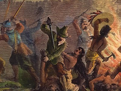 """The """"peaceful"""" Pilgrims massacred the Pequots and destroyed their fort near Stonington, Connecticut, in 1637. A 19th-century wood engraving (above) depicts the slaughter."""