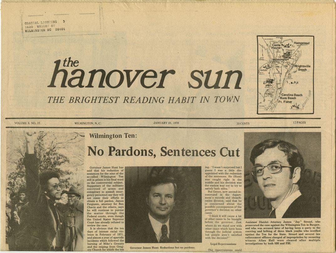 "Newspaper article headline ""No Pardons, Sentences Cut."""