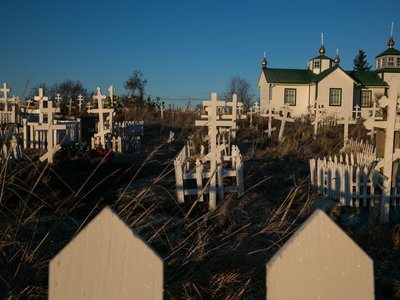 Russian Orthodox crosses in the time-and-weather-worn cemetery of Ninilchik's Holy Transfiguration of Our Lord Chapel are a testament to the heritage of the village.
