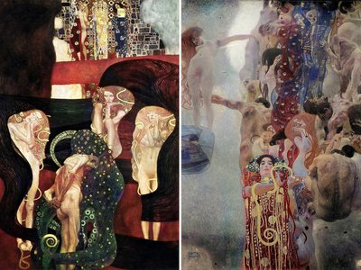 Two of the newly colorized paintings:Jurisprudence(left) and Medicine (right)