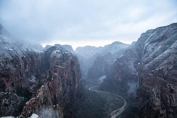 Zion National park during a winter rainstorm thumbnail