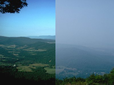 The view looking into the Shenandoah Valley can be hugely obscured by haze.