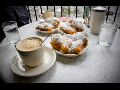 Coffee with beignet's at Cafe Du Monde in New Orleans, LA.