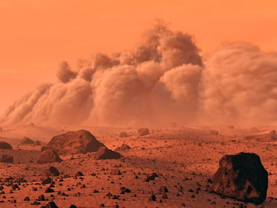 Researchers simulated how colliding dust particles imitating a dust storm on the red planet may emit tiny violet flickers of electricity known as triboelectrification, or static charges.