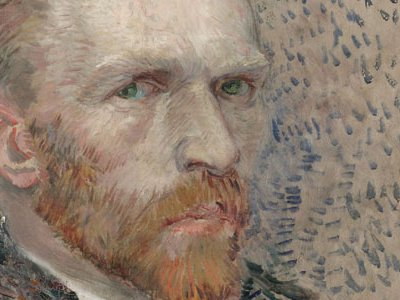 Van Gogh painted this portrait of himself, dressed as a bourgeois, in Paris, where he stayed with his brother Theo and continued to hone his painting skills. Van Gogh's brief flirtation with the separate, dappled brushstrokes of pointillism is evident in this early effort, which is one of his best paintings from 1887. (Self-Portrait: Three Quarters to the Right)