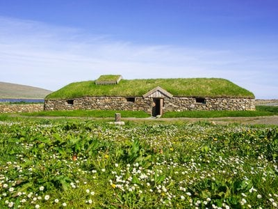 Replica of a Norse Viking longhouse in Scotland's Shetland Islands. Archaeologists in Iceland have uncovered the remains of two ancient Viking longhouses that may have been among the island's very first settlements.