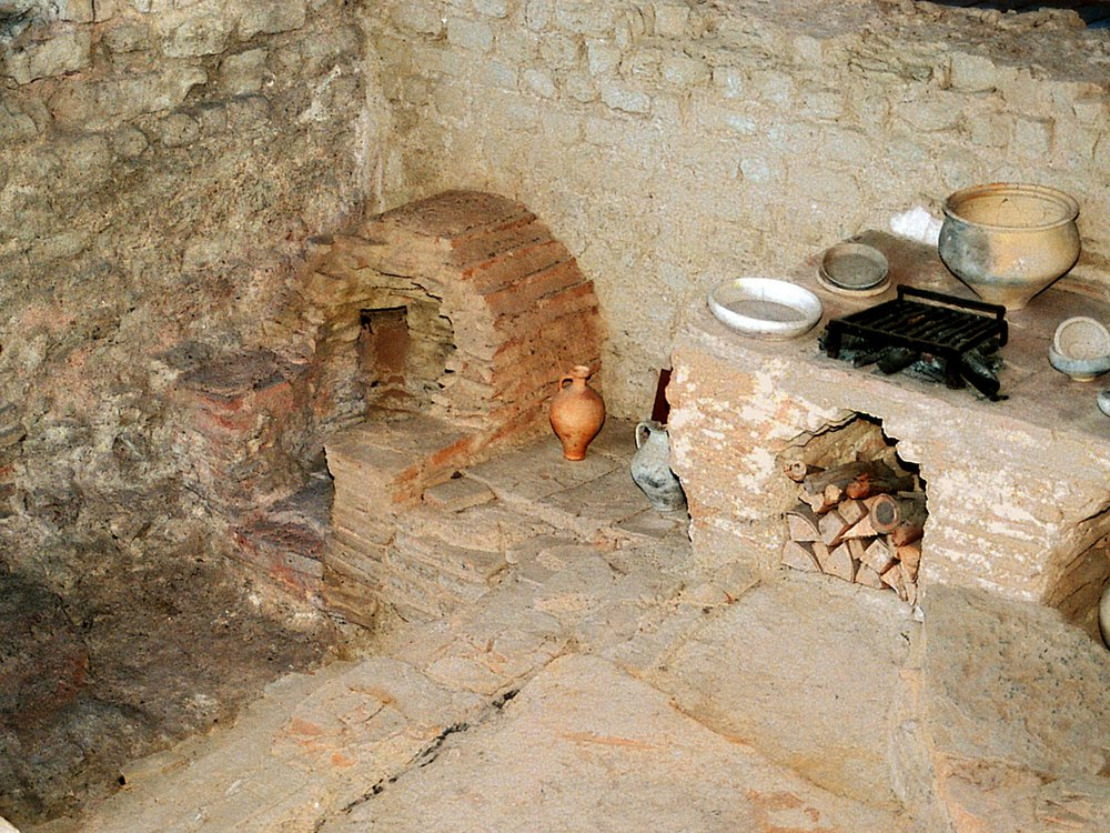 Kitchen with stove and oven of a Roman inn (Mansio) at the Roman villa of Bad Neuenahr-Ahrweiler, Germany