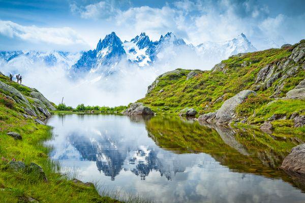 Hikers at Lac Flégère, Chamonix - Mont Blanc, Alps, France thumbnail