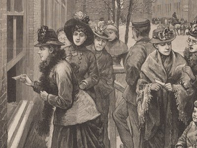 Women vote at the polls in Cheyenne, Wyoming. In Wyoming, women were voting fifty years before the Nineteenth Amendment was passed in 1920.