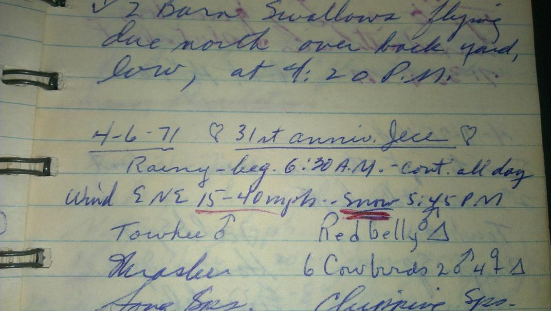 Hand-written journal entry.