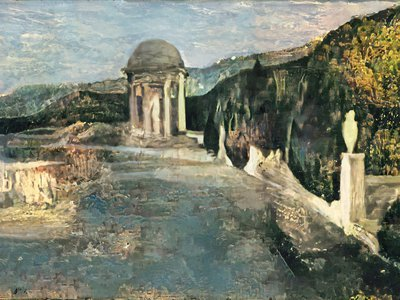 Researchers used A.I. to reconstruct the likely colors and brushstrokes of this landscape, which Pablo Picasso painted over to create a 1902 portrait.