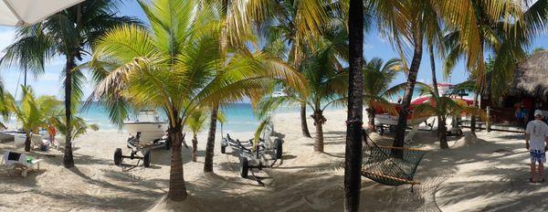 Panorama of beachside at Couples Swept Away, Negril, Jamaica thumbnail