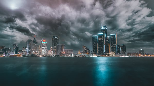 Detroit Skyline From Canada thumbnail