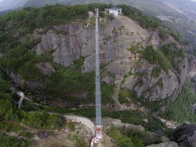 Haohan Qiao, a newly opened 984-foot-long bridge in China's Hunan province.