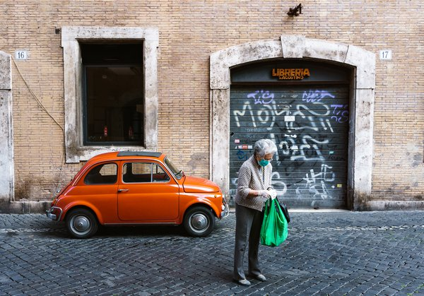 Vintage Fiat 500 scene captured during Rome's quarantine. thumbnail