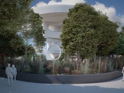 A design drawing shows the standing metal ring of the National Native American Veterans Memorial as it will be seen from the southeast corner of the National Mall, between the Capitol Building and the National Museum of the American Indian. (Design by Harvey Pratt/Butzer Architects and Urbanism, illustration by Skyline Ink, courtesy of the Smithsonian's National Museum of the American Indian)