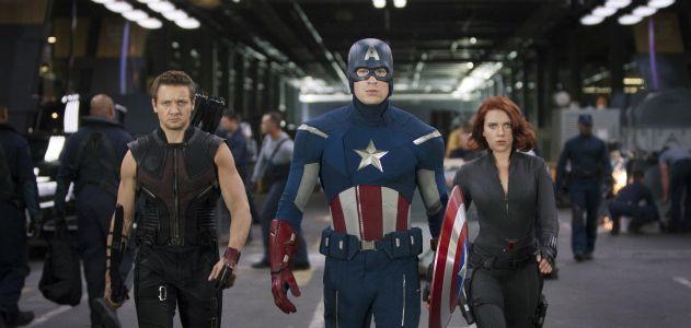 L to R: Hawkeye (Jeremy Renner), Captain America (Chris Evans) & Black Widow (Scarlett Johansson)