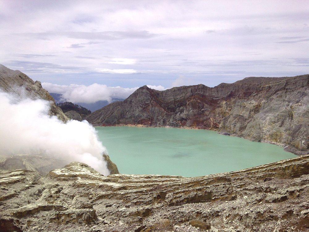 The sulfuric lake of Kawah Ijen Mountain's cauldron, Indonesia