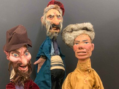 Three of Yosl Cutler's surviving puppets: two Jewish characters and one Russian. These were constructed circa 1933.