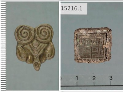 Artifacts found at the site include jewelry from Asia (left) and an inscribed weight possibly imported from Ireland.