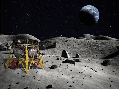 An artist's concept of the Beresheet lunar lander on the moon.