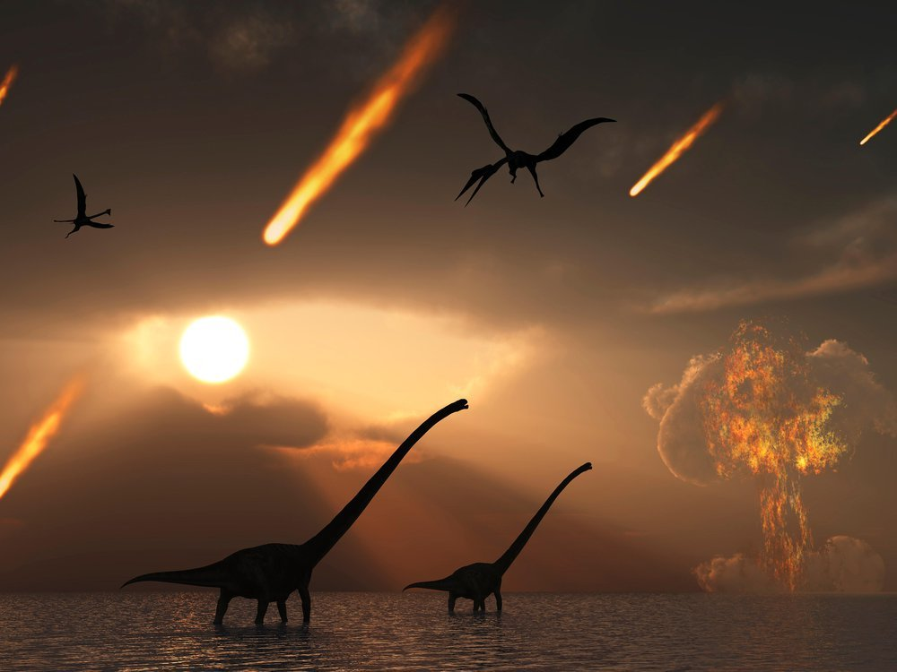 An artist's illustration of asteroids falling to Earth killing the dinosaurs