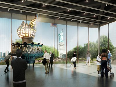A rendering of the lobby of the Statue of Liberty Museum, featuring the statue's original torch