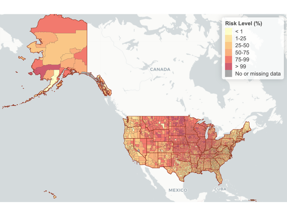 A map of the United States shows county-level risk of Covid-19 exposure with colors from yellow to red