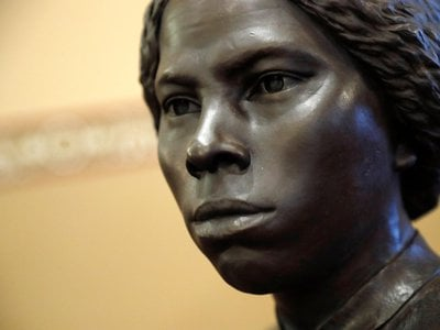A bronze statue of abolitionist Harriet Tubman is seen during a private viewing ahead of its unveiling at the Maryland State House, Monday, Feb. 10, 2020, in Annapolis.