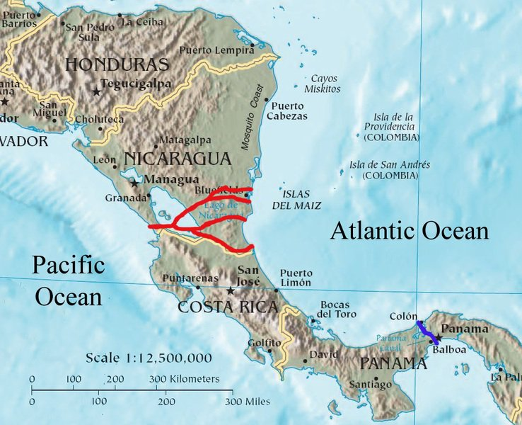 The Nicaragua canal's proposed routes (red) and the Panama canal (blue). Photo: Soerfm, Wikicommons