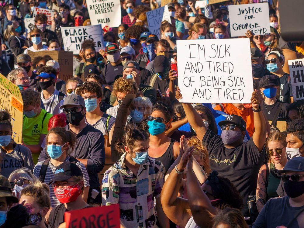 Protestors demonstrate against the killing of George Floyd