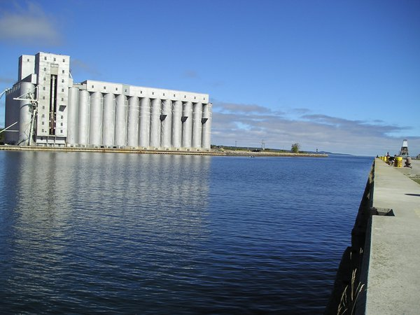 Grain elevators and pier looking out towards the bay of Owen Sound thumbnail